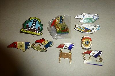 North Carolina Lions Club Pins lot of 9 vintage/state/conventions/NC/golf +