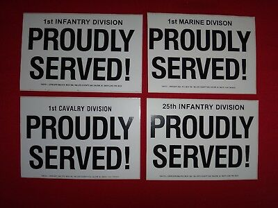 4 US Army PROUDLY SERVED Decals Stickers *Never Used*