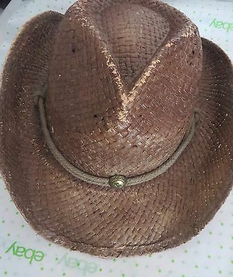 a9393740d234b4 PETER GRIMM Brown Straw ROUND UP Authentic Cowboy Hat Moisture Wicking  UNISEX