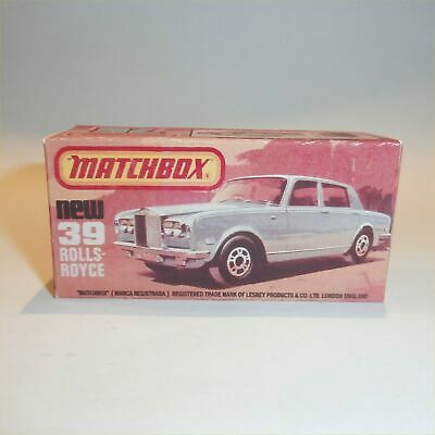 Matchbox Lesney Superfast 39 e Rolls Royce Silver Shadow empty Repro K style Box