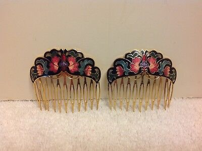 Pair of Vintage CLOISONNÉ ENAMEL Hair Combs Black Floral Design