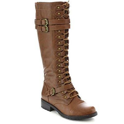 BS Women Over Knee Lace Up Buckle Military Combat Popular Boot PU-Leather Riding