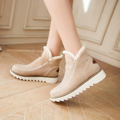 BS  Womens Ankle Boot Fur Winter Warm Thicken Shoes Snow Popular Boots