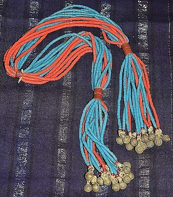 Antique African Fulani Tribe Multiple Bead Strand Necklace Bells Nigeria, Africa