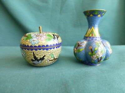 Two Vintage Cloisonne Pieces  One Vase and One Covered Box