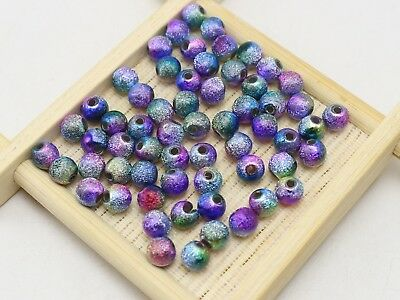 """500 Peacock Mullti-Color Stardust Acrylic Round Beads 6mm(0.24"""") Spacer Finding"""