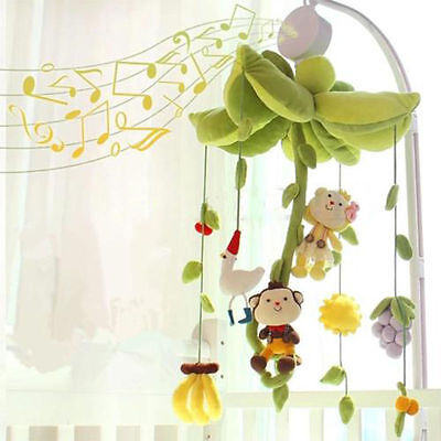 New Rotary Baby Kids Mobile Crib Bed Toy Clockwork Movement Music Box Bedding X