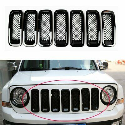 7pcs Front Mesh Grille Mesh Grille Insert Kit for Jeep Patriot 2011-2017(Black)