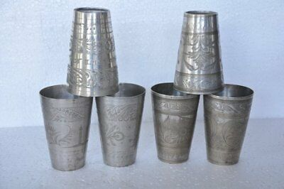 6 Pc Old Brass Unique Handcrafted Inlay Engraved Milk /Lassi Glasses