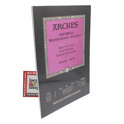 Aquarelle Arches Watercolour paper Pad Hot Pressed artists paper 12 Sheet 23x31
