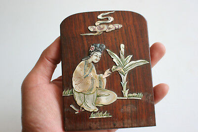 Old Chinese Mother of Pearl Picture on Small Wooden Plaque Piece