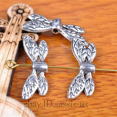 50 piece 22mm Wing Beads Spacer End Bead Charms Tibetan Silver DIY Jewelry A7343