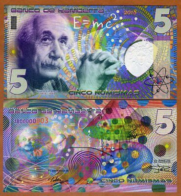 Kamberra,  5 Numismas, 2018, UNC > Einstein, New issue, Completely redesigned