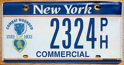 New York License Plate Number Tag Purple Heart - $2.99 Start