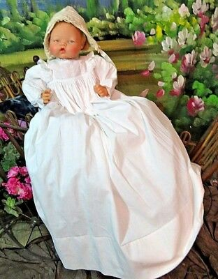 ANTIQUE Victorian era long CHRISTENING GOWN embroidery FRENCH KNOTS doll dress