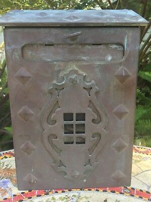 Vintage Stamped Copper Mailbox Arts & Crafts Nice Patina Diamond Rivets