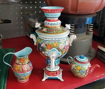 Vintage Antique Samovar Russian Painted Soviet USSR Tea Pot Set Urn Ornamental