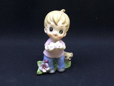 Vintage Josef Originals Little Boy With Gift In Hands With His Puppy