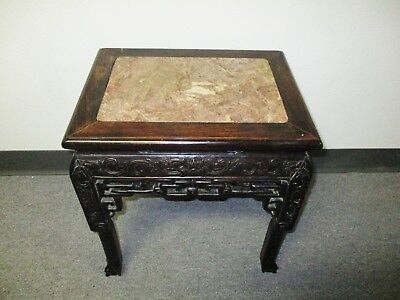 ****sale**** 1900's Small Chinese Carved Table With Marble