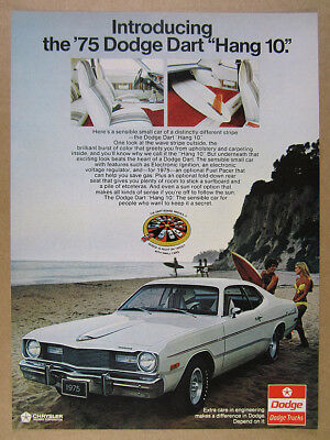 1975 Dodge Dart Hang Ten 10 white car beach surfers photo vintage print Ad