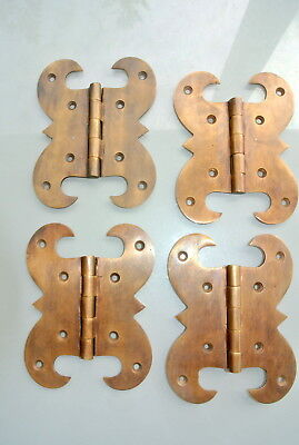 "4 hinges heavy vintage old style cast solid Brass DOOR BOX restore heavy 5"" B"