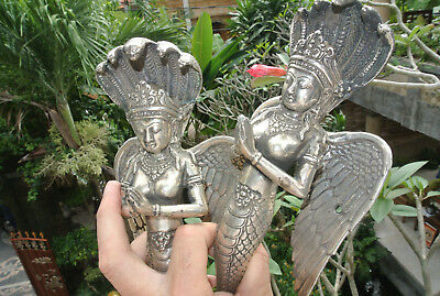 "2 praying Dewi brass door antique silver old style house PULL handle 12"" wings B"