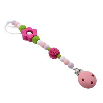 Baby Pacifier Chain Clip Holder Silicone Beads Wood Soother Feeding Teether Chew