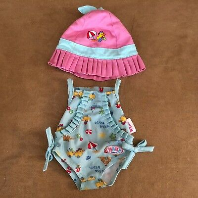 "Zapf creations baby born bathing suit hat duck clothing girl 16"" vintage swim"