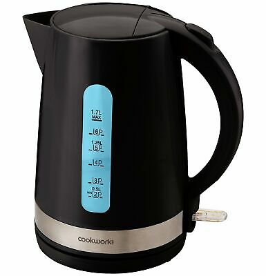 CookWorks Cordless 360 Base Illumination Rapid Boil Jug Kettle 3kW 1.7L - Black