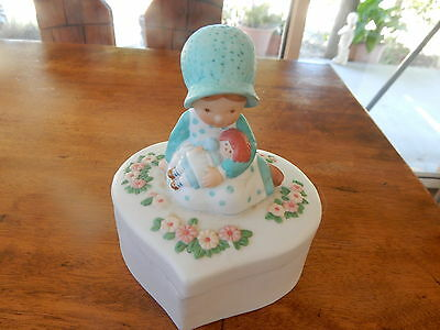 Vintage Holly Hobbie Girl Heart Shaped Trinket Box