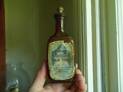 "Rexall ""93""hair Tonic United Drug Co 1910 Dated Bottle W/labels & Crown Stopper"
