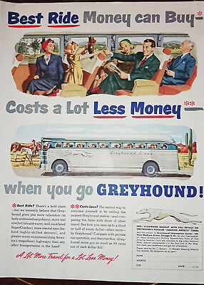 ORIGINAL FULL PAGE ADVERT FROM 1950 LOOK MAGAZINE - Greyhound Lines Buses