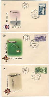 Three 1954 Israel Airline Commemorative Covers: Air France, Swissair, BOAC