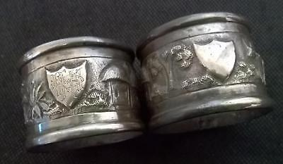 2 x Antique Silver Plated Napkin Rings with repousse design