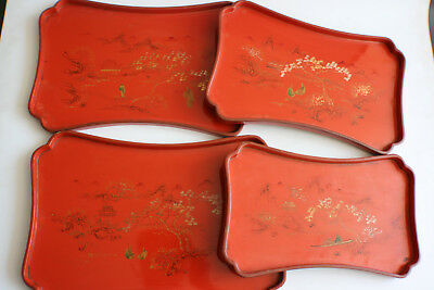 "4 Pcs Chinese Wooden Carved Lacquer and Painted Plate Tray - Marks ""MEI AI HSIN"""