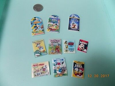 Barbie Size Miniature Mickey Mouse Movie CDs with Jackets and Books