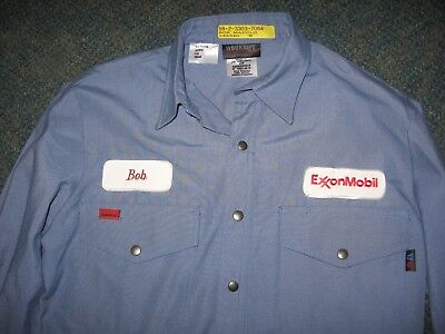 """Exxon Mobil """"bob"""" New With Tag Sewn On Patch Western Shirt By Workrite Benchmark"""