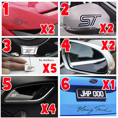 FORD ST LOGO CAR BUNDLE vinyl decal stickers bumper window spoiler wing mirror