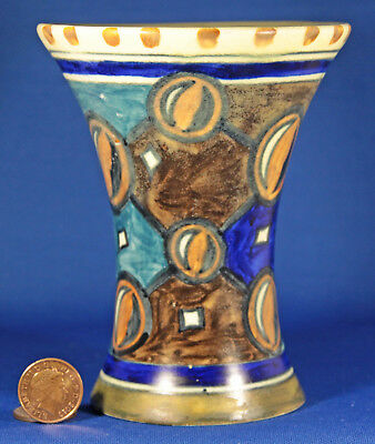 Smallclews Chameleon Ware Flared Rim Vase With A Multi Coloured Geometric Design