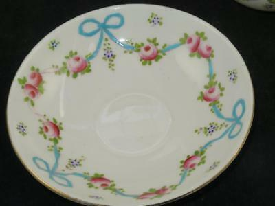 Antique Crown Staffordshire Replacement China Saucer F4547 BLUE BOW 1910