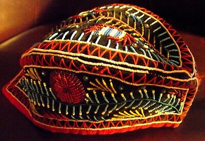 Iroquois Beaded Glengarry Cap, Red White And Blue C. 1890