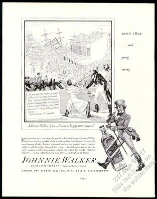 1936 Johnnie Walker Scotch Whisky 1824 boxing match art vintage print ad