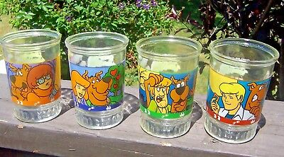 LOT OF 4 BAMA SCOOBY DOO JARS GLASSES #1-4 WITCH'S GHOST c 1999 EXCELLENT COND