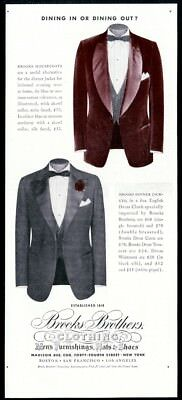 1941 Brooks Brothers men's velveteen housecoat and dinner jacket photo print ad
