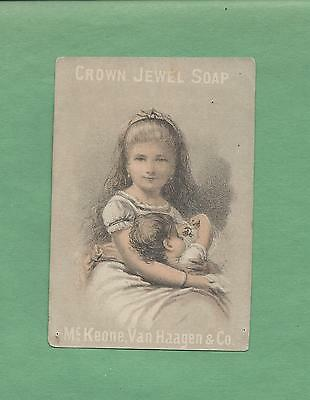 YOUNG MOTHER & BABY On Beautiful CROWN JEWEL SOAP Victorian Trade Card