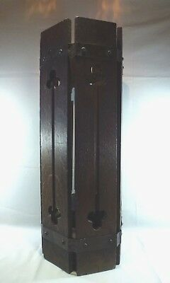 Arts & Crafts Limbert Style Umbrella Stand, 6 Sided, Copper Banding, Clover