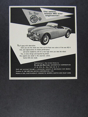 1956 MG MGA roadster convertible photo vintage print Ad