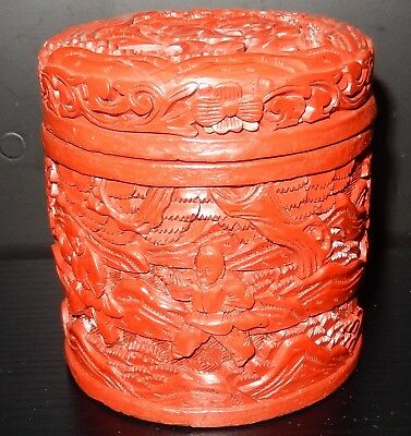 Old Chinese People Karate Scene Carved Cinnabar Lacquer Humidor Canister Jar Box