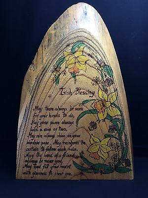 Hand made Irish blessing wood burning folk art on red cedar