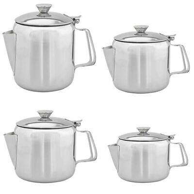 Stainless Steel Metal Teapot Cafe Tea Coffee Drink Kitchen Flip Lid Pot Catering